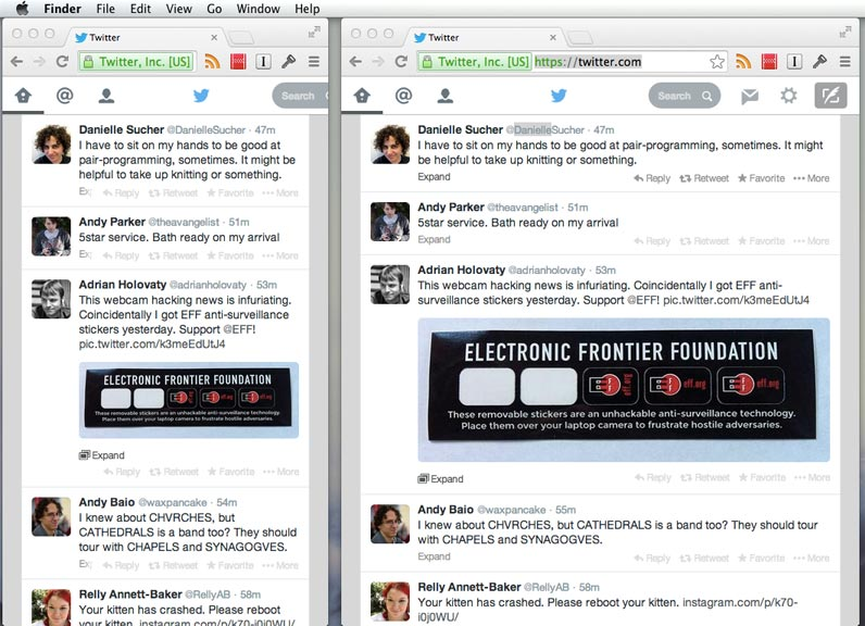 Screenshot of responsive Twitter